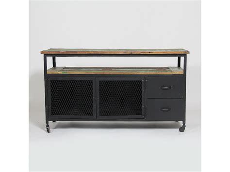 meuble tv industriel deux portes et 2 tiroirs mim4322 bois colores vente de meuble tv