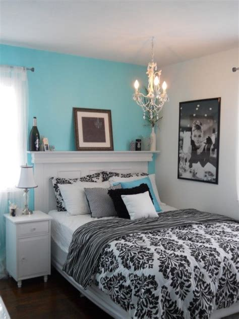 aqua white  black bedroom