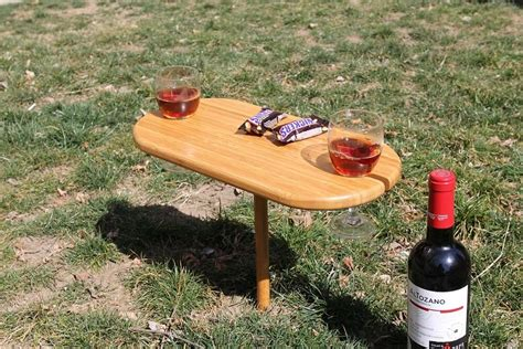 Portable 2 Person Bamboo Wine Glass Holder & Snack Serving