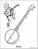 Banjo Coloring Abcteach Instrument sketch template