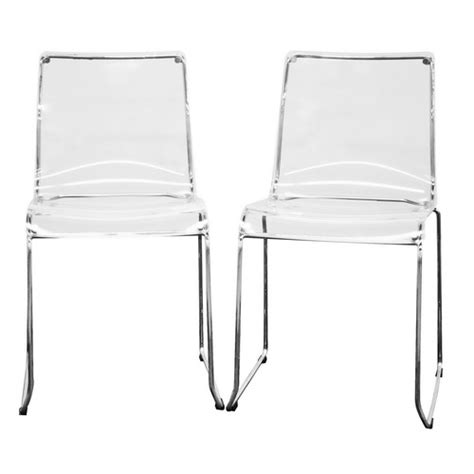 baxton studio transparent clear acrylic dining chairs from