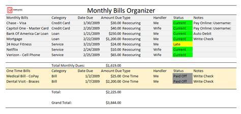 printable monthly bill organizer  excel   log