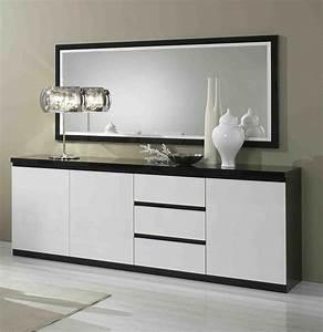Bahut 2 ou 3 portes 3 tiroirs blanc et noir laqu design for Meuble salle À manger avec buffet salle a manger noir et blanc
