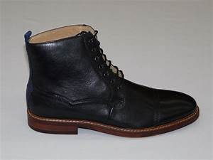 Handmade mens ankle high leather boots mens black real for Custom leather boots mens