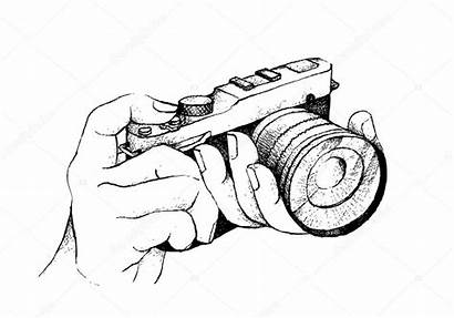 Camera Holding Hand Drawn Photographer Background Sketch