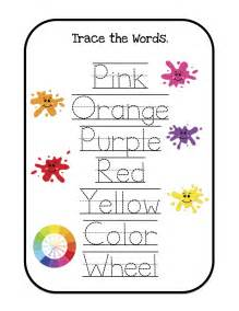 Trace Color Words Printables
