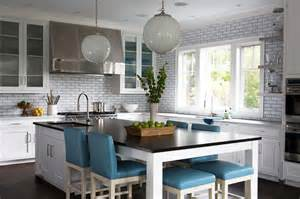 Kitchen Island And Dining Table Kitchen Island As Dining Table With Blue Leather Stools Transitional Kitchen