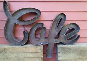 quotcafequot cursive recycled tin restaurant kitchen sign metal With cursive metal letters