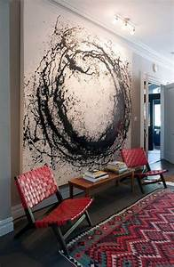 large black abstract painting decoist With what kind of paint to use on kitchen cabinets for 3d circle wall art