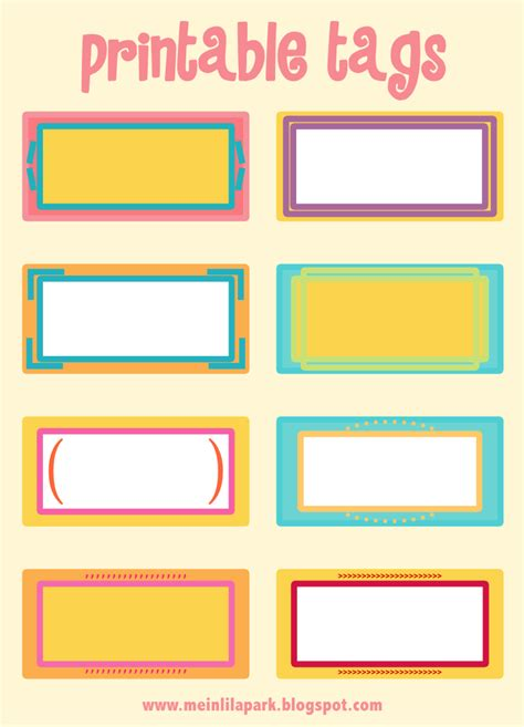 Free Printable Cheerfully Colored Tags