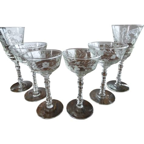1950s set of 6 libbey cut for two libbey rock sharpe halifax set of