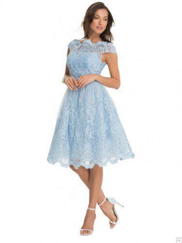 light blue tea length dress light sky blue lace cap sleeve a line tea length