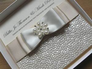 Luxury handmade wedding invitation pearls diamante satin for Luxury handcrafted wedding invitations
