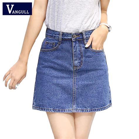 2017 New Summer Style Women Skirt American A line High Waist Denim Skirts Short Vintage Woman ...