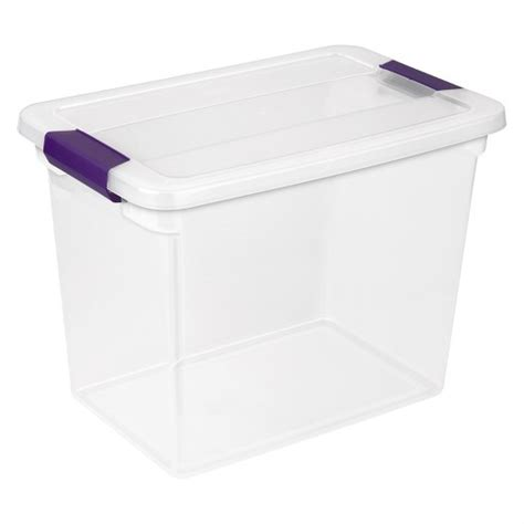 plastic tubs target sterilite 174 clearview latch 27 qt storage tote clear with