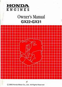 Honda Gx22 Gx3 Engine Owners Manual