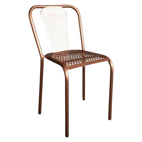 chaise en metal chaise en métal style vintage couleur cuivrée demeure et