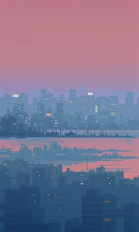 Aesthetic 8 Bit Wallpaper Iphone by Small 8 Bit Gif Loops In 2019 8bit Pixel City Pixel