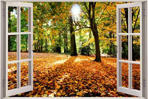 poster mural trompe l oeil fenetre 3d vue fen 234 tre effet automne for 234 t nature autocollant mural poster vinyle ebay