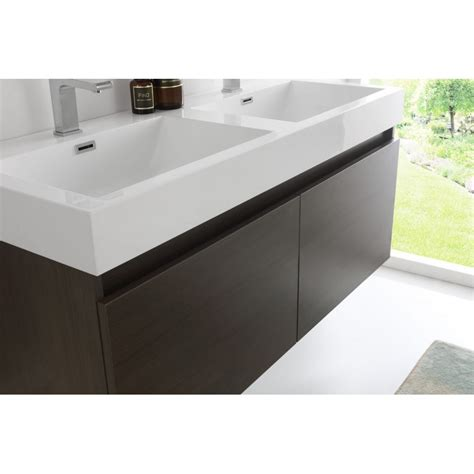 Brushed Nickel Medicine Cabinet With Lights by Fresca Mezzo 48 Quot Gray Oak Wall Hung Double Sink Modern