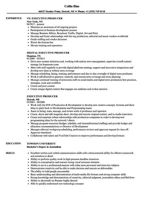 executive producer resume sles velvet