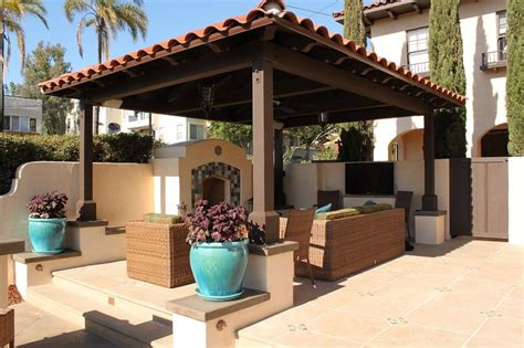 solid roof patio cover with custom outdoor fireplace yelp
