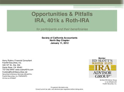 opportunities  pitfallsira  roth ira society