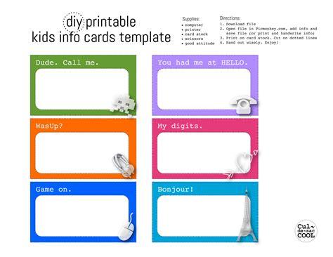 Diy Printable Kids Info Cards Template