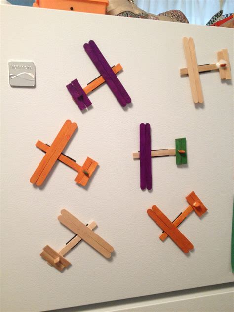 popsicle stick airplane magnets preschool craft activity 198 | d69b11f79e5c3b79a5691db17a004f84