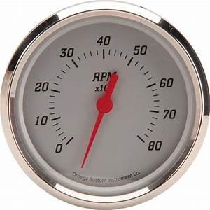 Omega Kustom 8000 Rpm Tachometer Gauge  4 8  Billet Silver