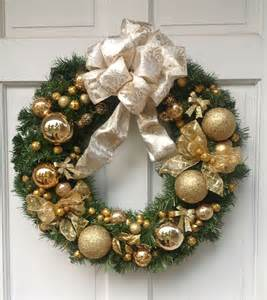 hand crafted custom made white and gold christmas wreath by duchess florals custommade com