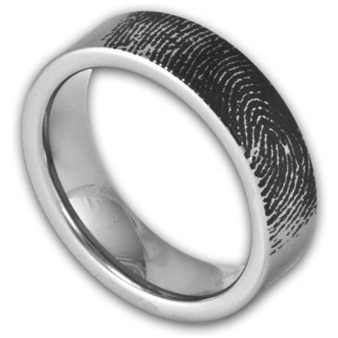 6mm pipe cut tungsten fingerprint ring s or s