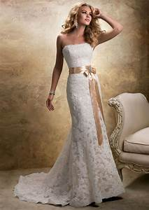 looking classical and vintage with strapless lace wedding With strapless lace wedding dress