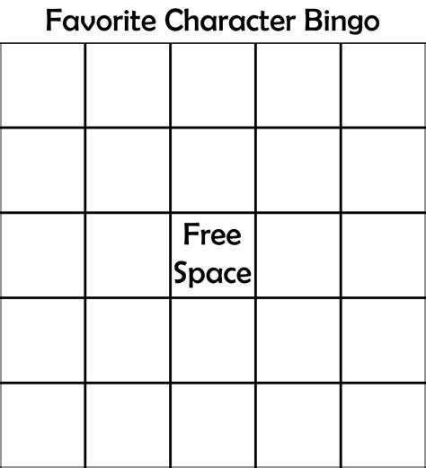 Favorite Character Bingo Template Smoople On Quot I D Totally Recommend Anyone To Make