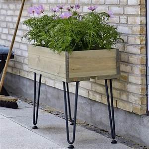 Jardiniere Haute Sur Pied : retro jardini re rectangulaire sur pieds 76x36x65cm bois flott ~ Melissatoandfro.com Idées de Décoration