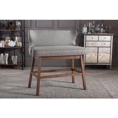 Counter Height Settee by Gradisca Modern Gray Button Tufted Bar Bench Settees