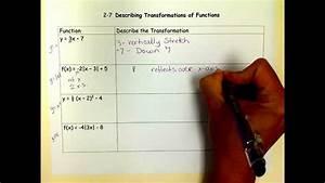 Describing Transformations Of Parent Functions