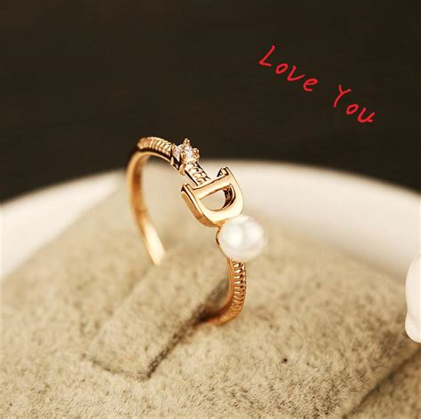 vintage engagement rings for sale european brand ring gold plated letter d ring fashion