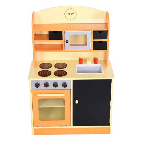 goplus wood kitchen toy kids cooking pretend play set toddler wooden playset  ebay
