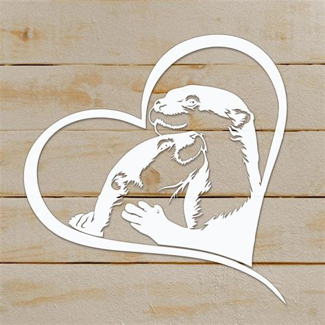 Eps, svg, cdr & psd files, high resolution transparent png. Cute otter love svg animal dxf Cricut couple Clipart laser ...