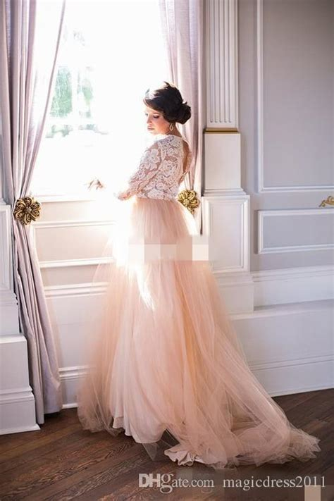 discount summer  long sleeves wedding dresses lace top