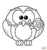 Coloring Owl Rose Printable Owls Colouring Resolution Paper sketch template