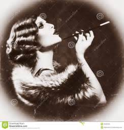 Black and White Vintage Woman Smoking