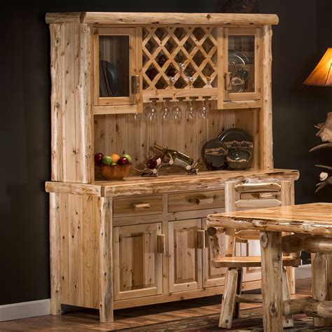 cedar lake cabin rustic log buffet  hutch  rustic
