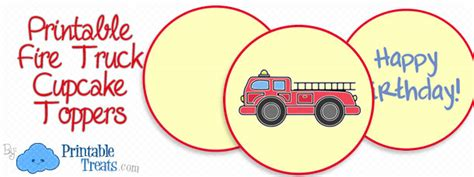 printable fire truck cupcake toppers printable treatscom