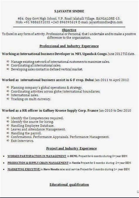 How To Make Cv For Exle by Cv For Exle Sle Template Exle Ofexcellent