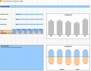 Excel Tabelle Berechnen : produktivit tskennzahl durch input output vergleich berechnen excel tabelle business ~ Themetempest.com Abrechnung