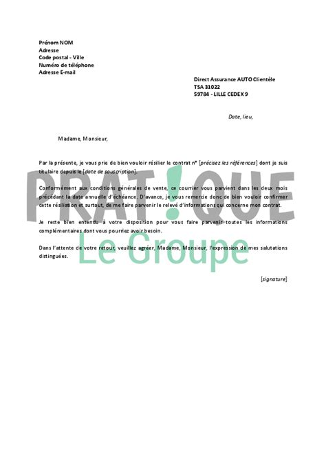 lettre de resiliation direct assurance pratiquefr