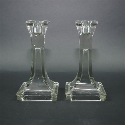 Clear Candlestick Holders clear glass candlestick holders set of 2 vintage l e