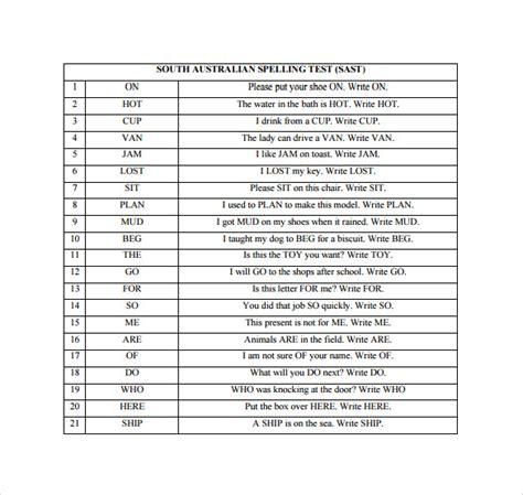 spelling test templates   sample templates